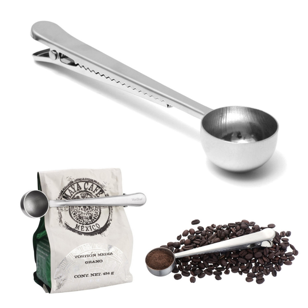 Cuillère doseuse à Café avec pince clip de fermeture