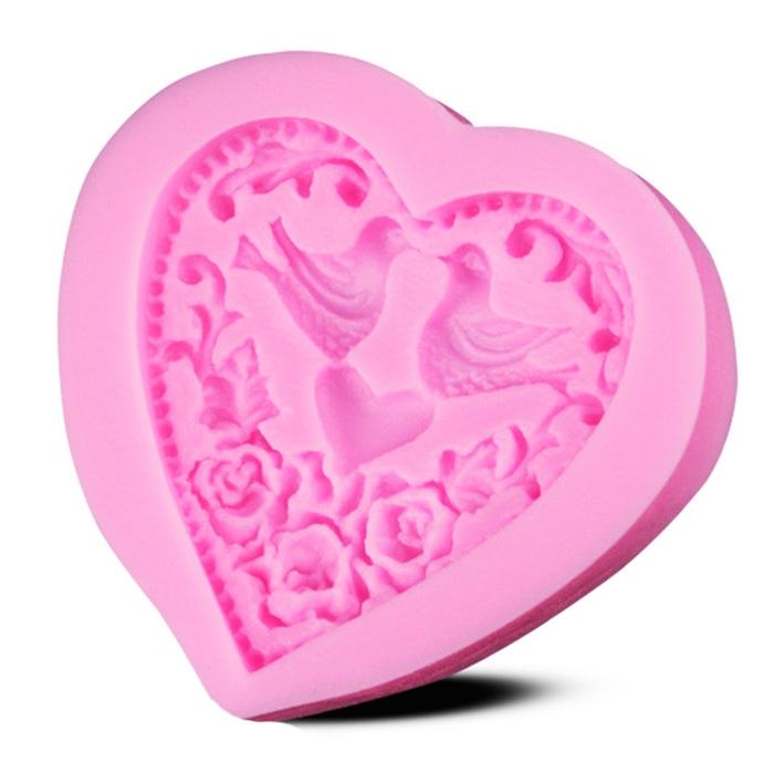 Moule Amour Oiseaux Coeur pâte à sucre