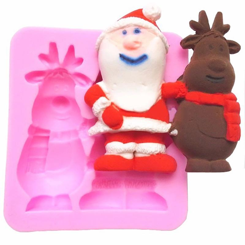 Moule Père Noël et Renne pâte à sucre