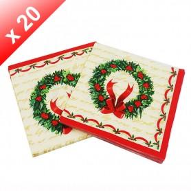 X20 Serviettes en papier Couronne de Noël