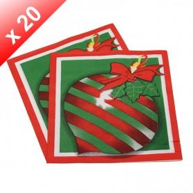 X20 Serviettes en papier Boule de Noël