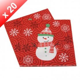X20 Serviettes en papier Bonhomme de Neige