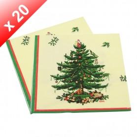 X20 Serviettes en papier Sapin de Noël