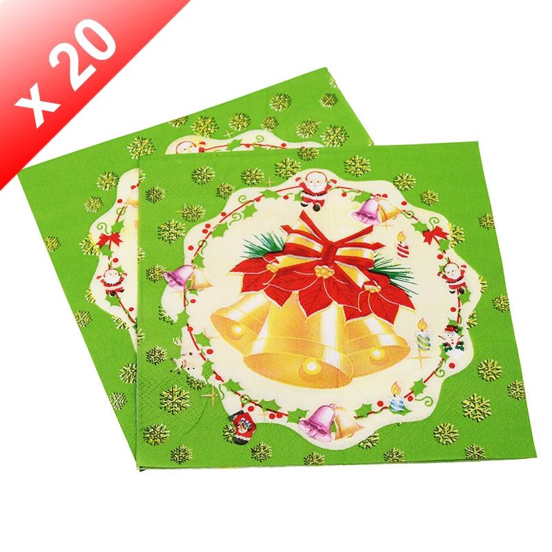 X20 Serviettes en papier Cloche de Noël