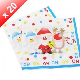 X20 Serviettes en papier Père Noël enfant