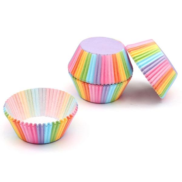 X50 Moules Caissettes à Cupcakes Arc-en-ciel