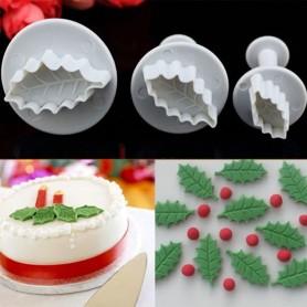 X3 Emporte-pièces Houx de Noël