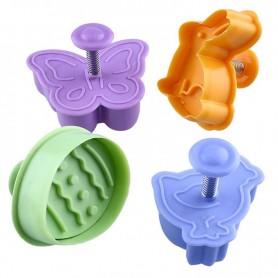 X4 Emporte-pièces Lapin Oeuf Papillon Poussin