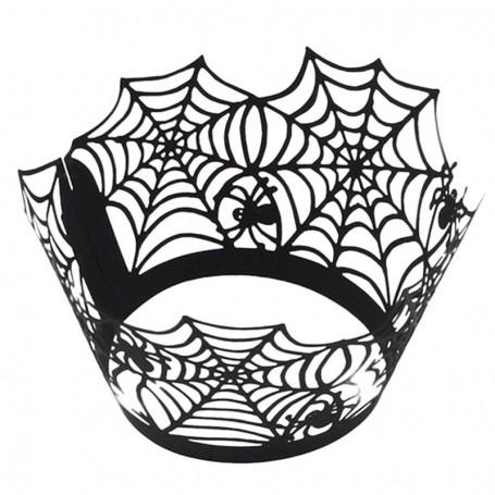 X12 Caissettes wrap Cupcake Halloween Toile d'araignée