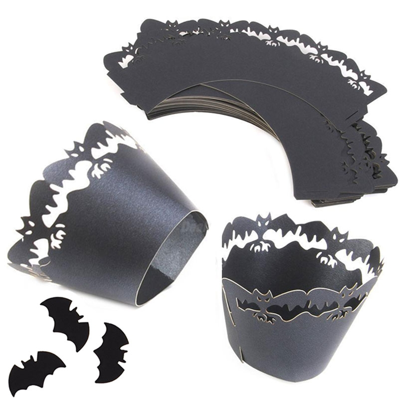 X12 Caissettes wrap Cupcake Halloween Chauves-souris