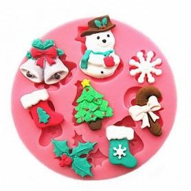 Moule Noël Sapin Bonhomme de neige pâte à sucre