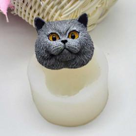 Moule Tête de Chat 3D pâte à sucre